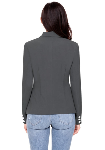 Back view of model wearing grey asymmetrical side buttons blazer