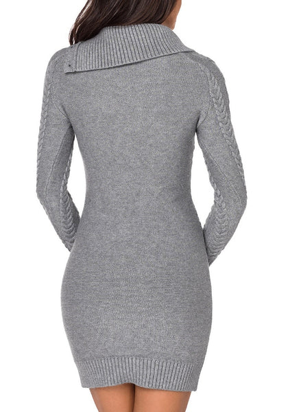Back view of model wearing grey cable knit split cowl neck sweater dress