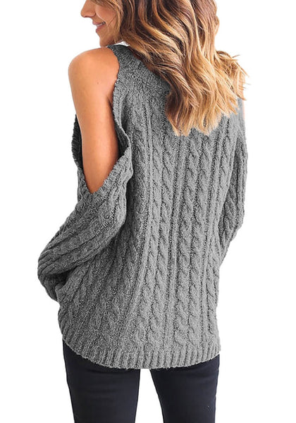 Back view of model wearing grey cold-shoulder cable knit sweater