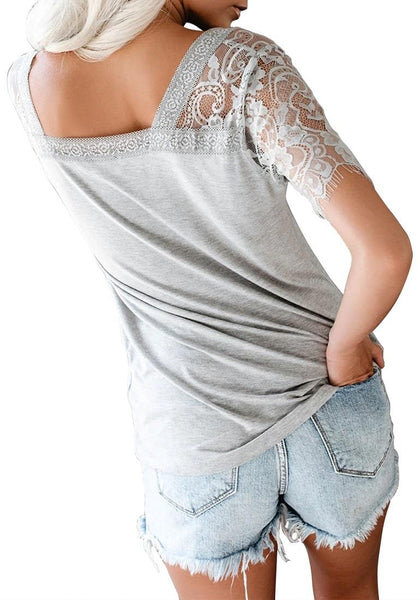 Back view of model wearing grey crochet lace short sleeves V-neckline top