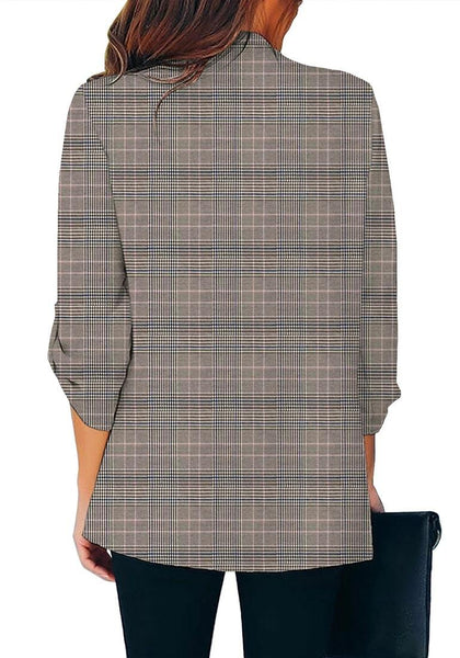 Back view of model wearing grey cuffed sleeves open-front draped plaid blazer