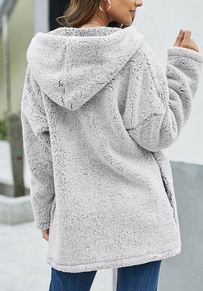 Back view of model wearing grey fuzzy fleece hooded open-front oversized coat