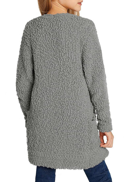 Back view of model wearing grey fuzzy fleece open-front girls' cardigan