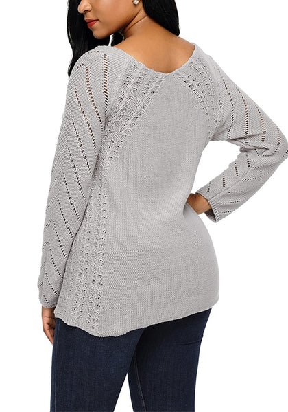 Back view of model wearing grey hollow out cotton sweater