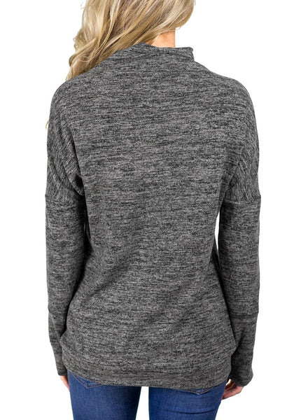 Back view of model wearing grey kangaroo pocket cowl-neck heathered pullover top