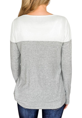 Grey Long Sleeves Buttons Colorblock Pullover Sweatshirt