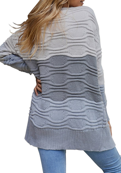 Back view of model wearing grey long sleeves colorblock textured sweater cardigan