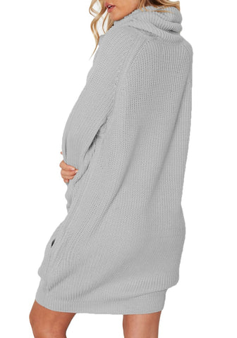 Grey Long Sleeves Cowl Neck Ribbed Knit Sweater Dress