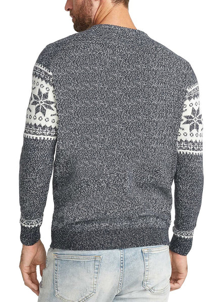 Back view of model wearing grey melange snowflake men's Christmas sweater