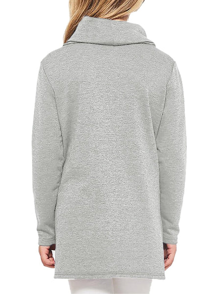 Back view of model wearing grey oblique buttons tulip hem turtleneck girl's sweatshirt