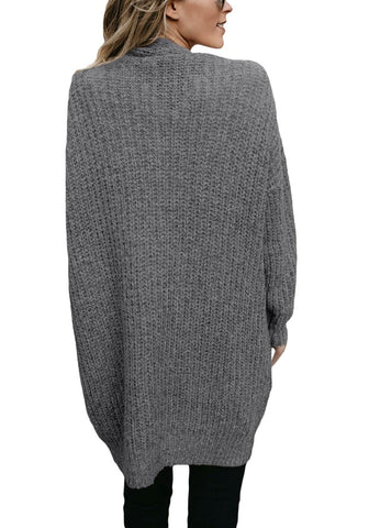 Grey Open-Front Chunky Cable Knit Tunic Cardigan