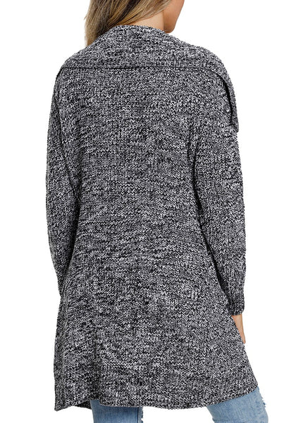 Back view of model wearing grey open-front wide collar knit sweater cardigan