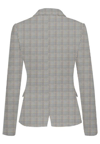 Back view of model wearing grey plaid back-slit notched lapel blazer's 3D image