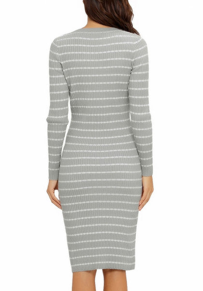 Back view of model wearing grey ribbed knit striped bodycon dress