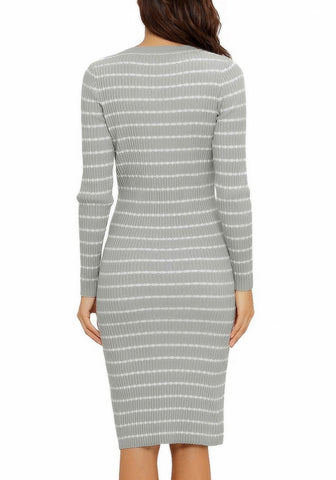 Grey Ribbed Knit Striped Bodycon Sweater Dress