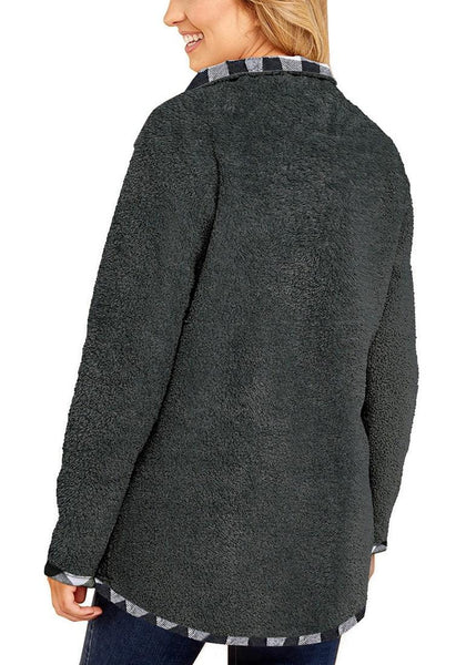 Back view of model wearing grey stand collar plaid trim fleece sweater