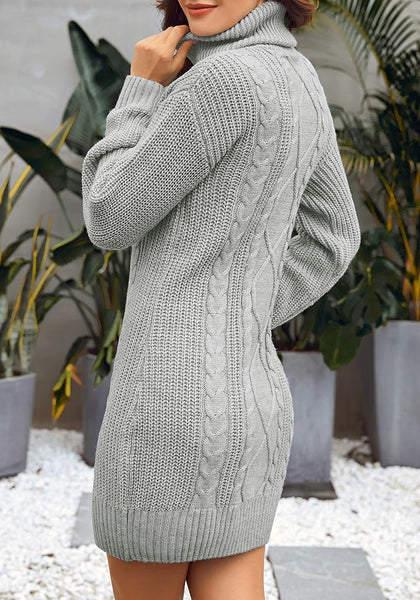 Back view of model wearing grey turtleneck cable knit pullover sweater dress