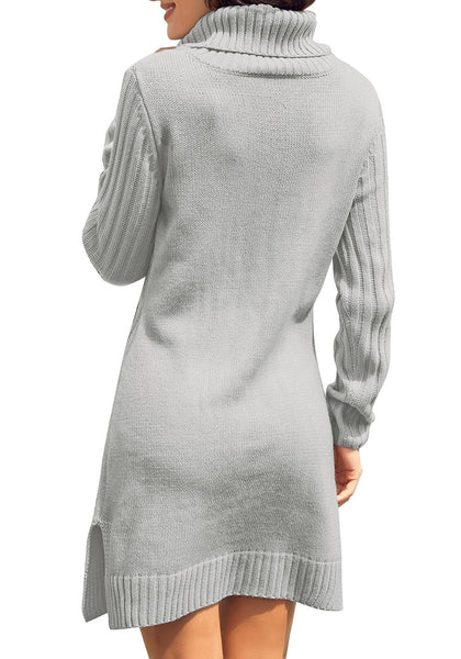 Back view of model wearing grey turtleneck cable knit side slit pullover sweater dress