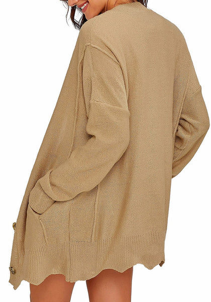 Back view of model wearing khaki button-up side-pocket knit boyfriend cardigan