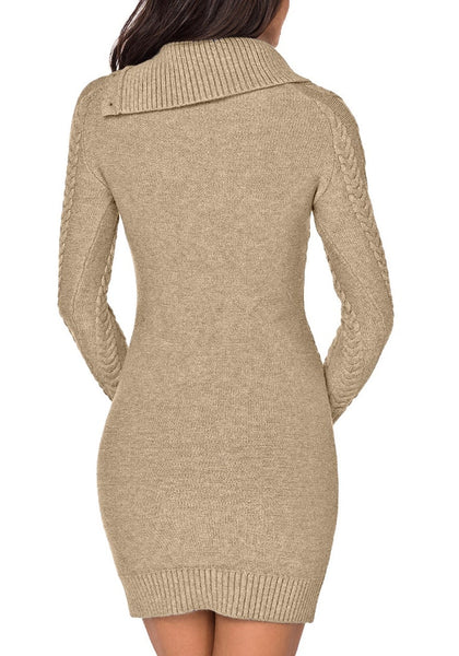 Back view of model wearing khaki cable knit split cowl neck sweater dress