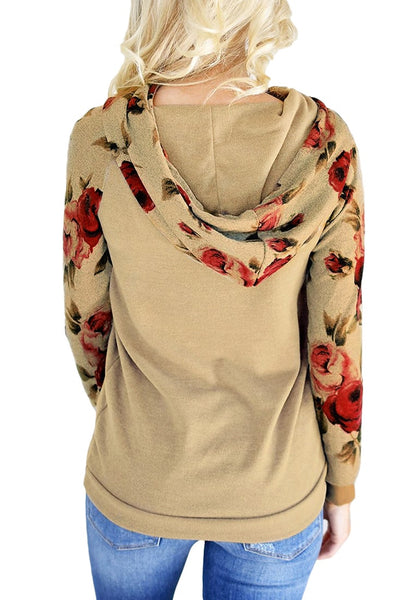 Back view of model wearing khaki floral long sleeves pocket pullover hoodie