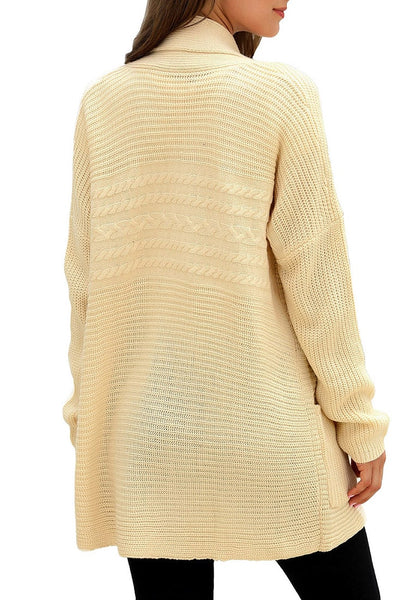 Back view of model wearing khaki open-front draped ribbed knit long cardigan