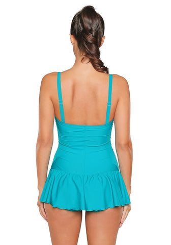 Lake Blue Ruched Ruffled Swimsuit