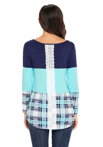 Light Aqua Blue Plaid Curved Hem Color Block Blouse
