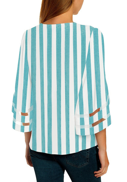 Back view of model wearing light blue 34 bell mesh panel sleeves V-neckline striped loose top