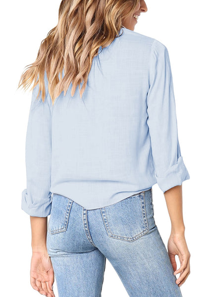 Back view of model wearing light blue 34 sleeves tie-front button-up blouse