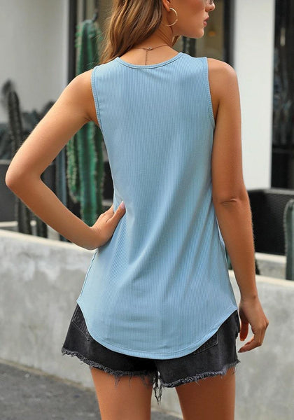 Back view of model wearing light blue V-neck buttons sleeveless knit top