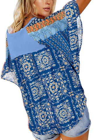 Light Blue V-Neckline Boho-Print Flutter Raglan Sleeves Top