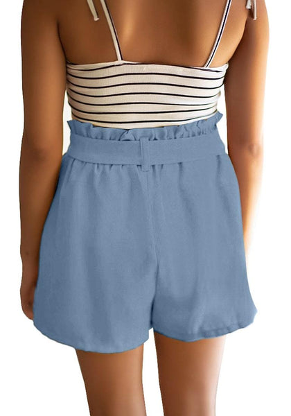 Back view of model wearing light blue elastic-waist buttons tie-front shorts