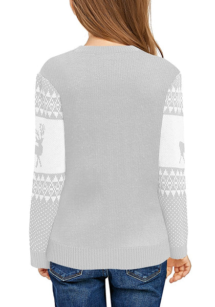 Back view of model wearing light grey crew neck reindeer girl's Christmas sweater