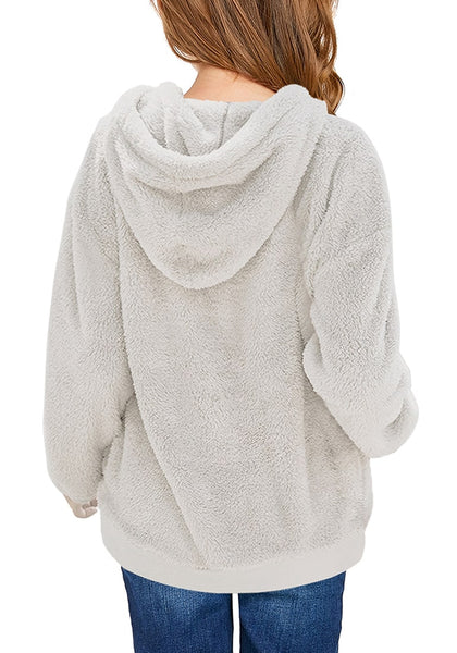 Back view of model wearing light grey fuzzy fleece hooded girl's sweater
