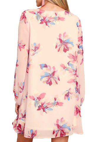 Light Pink Floral Print Long Sleeves Flowy Short Dress