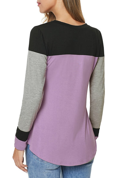Back view of model wearing light purple long sleeves splicing colorblock top