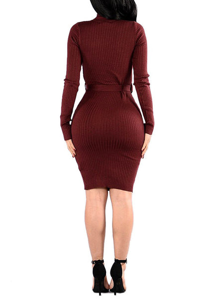 Back view of model wearing maroon mock neck belted ribbed midi dress