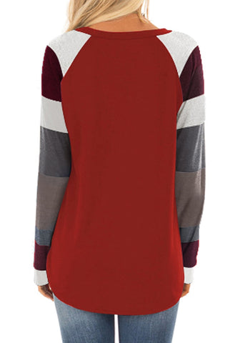 Maroon Raglan Sleeves Color Block Pullover Top