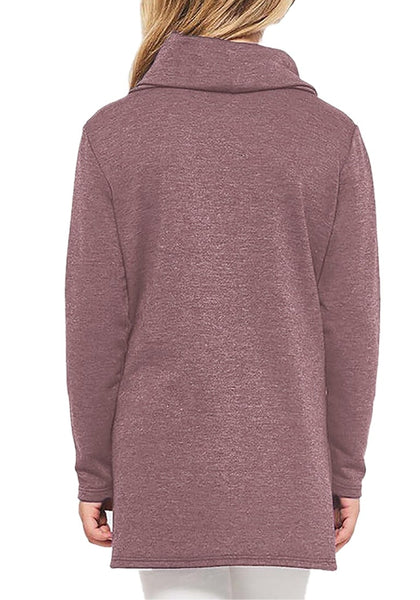 Back view of model wearing mauve oblique buttons tulip hem turtleneck girl's sweatshirt