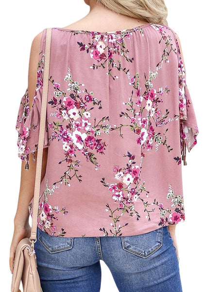 Back view of model wearing mauve pink drawstring cold-shoulder floral button-up top