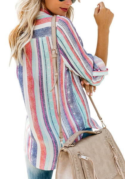 Back view of model wearing multicolored striped cuffed sleeves button-up top