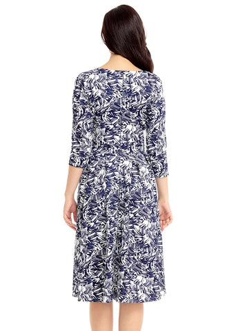 Navy Abstract-Print Crop Sleeves Skater Dress