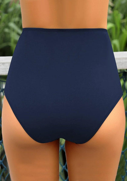 Back view of model wearing navy blue high-waist shirred swim bottom