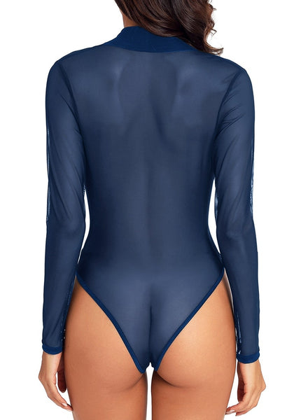 Back view of model wearing navy blue long sleeves surplice neckline sheer mesh bodysuit