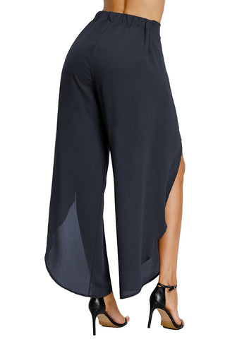 Navy Blue Tie Front Side-Slit Tulip Chiffon Wide-Leg Pants