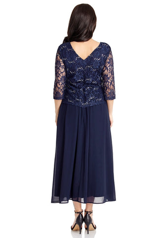 Navy Floral Lace Sequined Long Dress