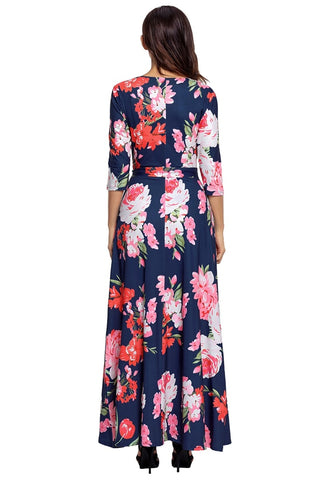 Navy Floral Print Boho Long Faux Wrap Dress