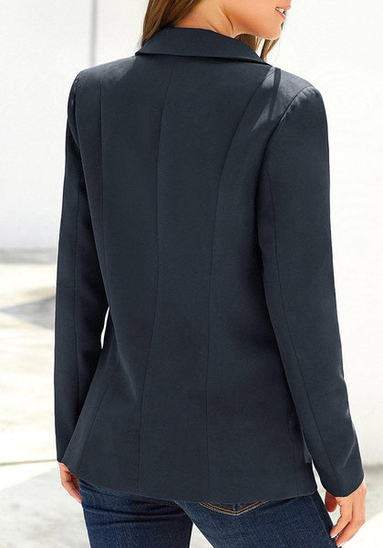Back view of model wearing navy lapel front-button side-pockets blazer