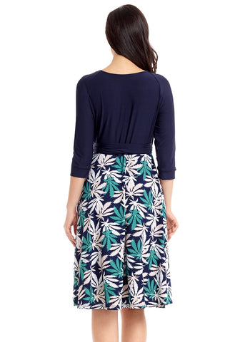 Navy Leaf-Print Surplice Skater Dress